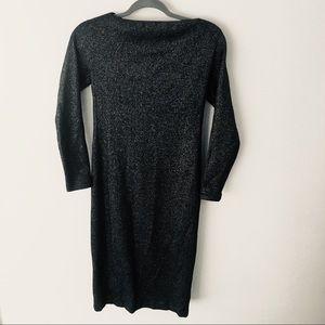 Zara Studio Metallic Black Silver Midi Dress
